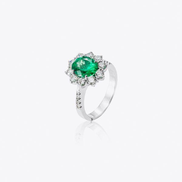 Anello Acquerello con smeraldo