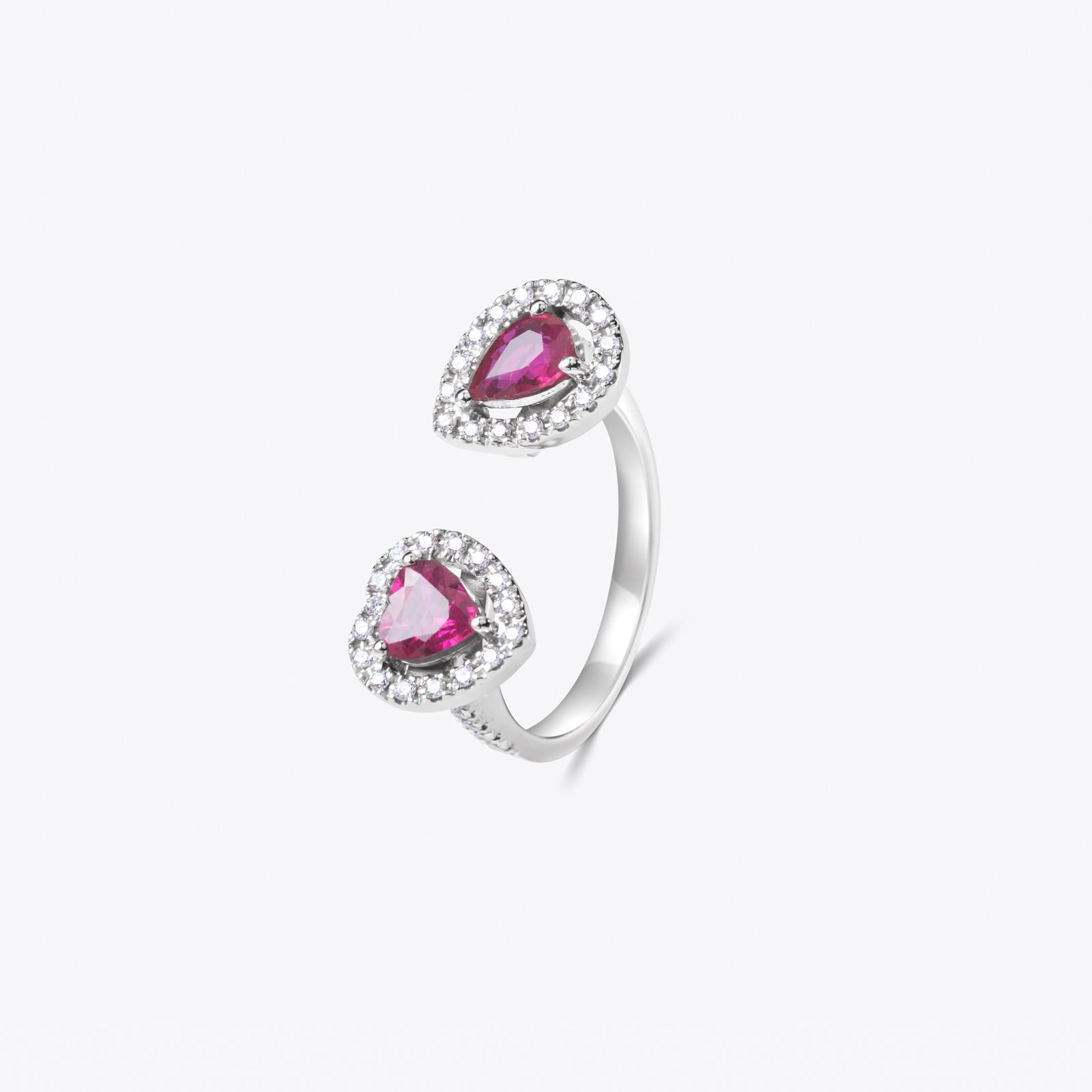 Anello con rubini Heart&Drop