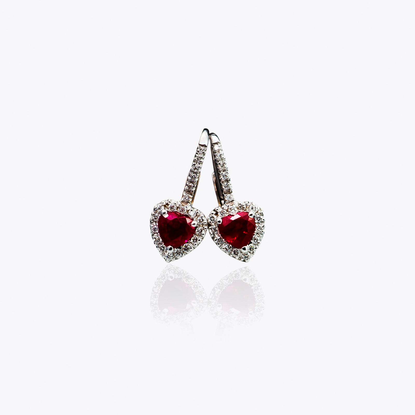 Orecchini Acquerello Diamanti e Rubini