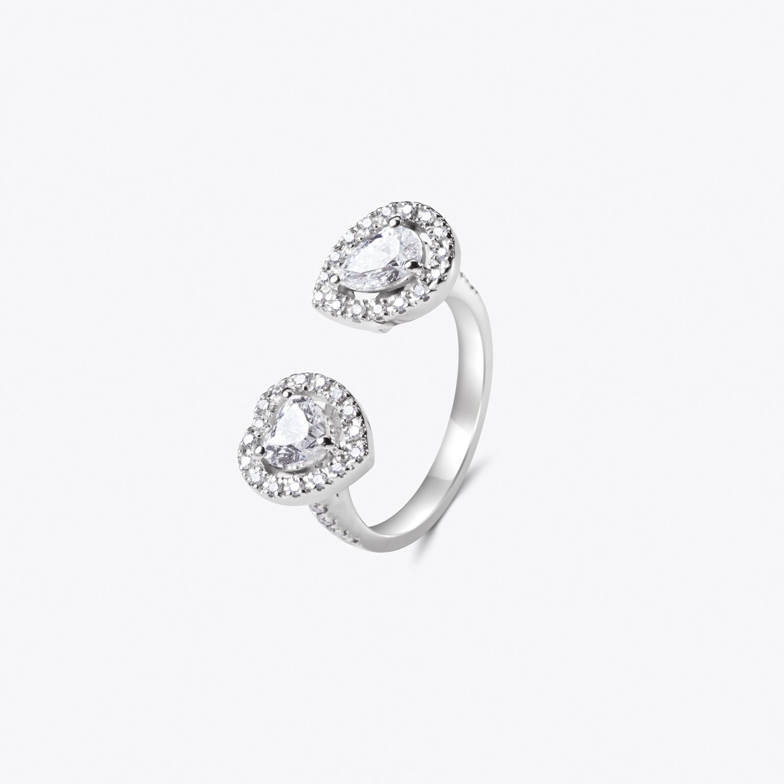 Anello con diamanti Heart&Drop